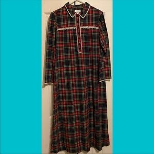 New Cabernet Flannel Plaid Sleepwear Duster Gown S